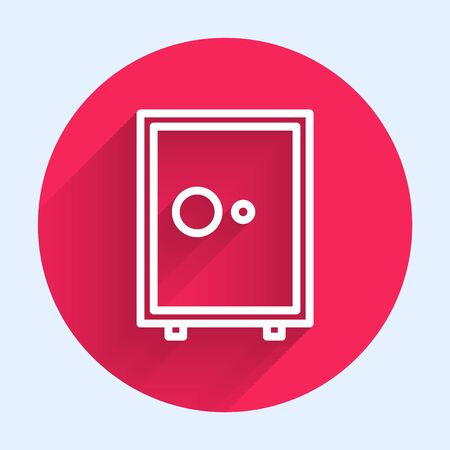 White line Safe icon isolated with long shadow. The door safe a bank vault with a combination lock. Reliable Data Protection. Red circle button. Vector Illustration