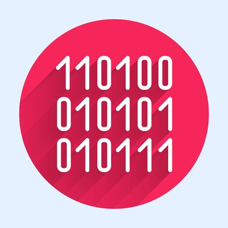 White line Binary code icon isolated with long shadow. Red circle button. Vector Illustration