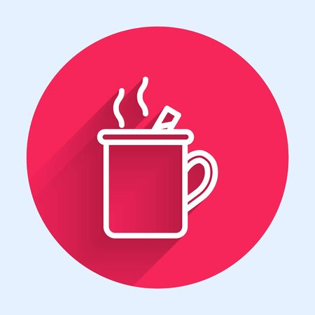 White line Mulled wine with glass of drink and ingredients icon isolated with long shadow. Cinnamon stick, clove, lemon slice. Red circle button. Vector Illustration Ilustração