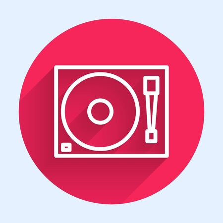 White line Vinyl player with a vinyl disk icon isolated with long shadow. Red circle button. Vector Illustration