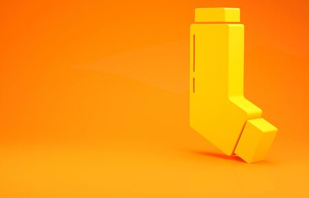 Yellow Inhaler icon isolated on orange background. Breather for cough relief, inhalation, allergic patient. Medical allergy asthma inhaler spray. Minimalism concept. 3d illustration 3D render Reklamní fotografie
