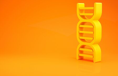 Yellow DNA symbol icon isolated on orange background. Minimalism concept. 3d illustration 3D render