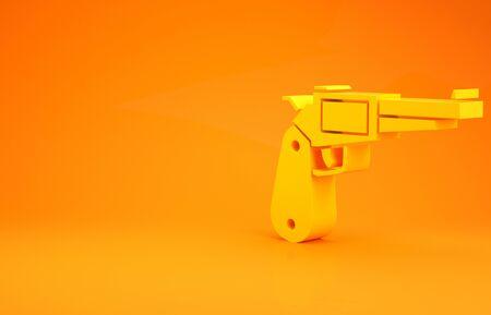 Yellow Revolver gun icon isolated on orange background. Minimalism concept. 3d illustration 3D render