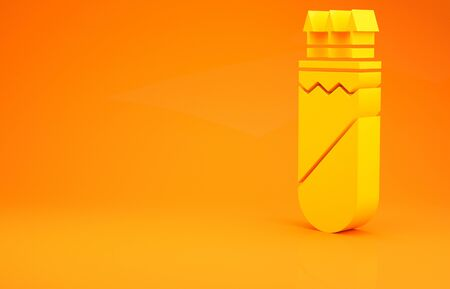 Yellow Quiver with arrows icon isolated on orange background. Minimalism concept. 3d illustration 3D render