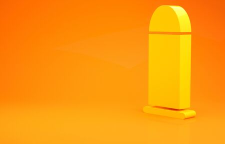 Yellow Bullet icon isolated on orange background. Minimalism concept. 3d illustration 3D render