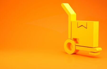Yellow Hand truck and boxes icon isolated on orange background. Dolly symbol. Minimalism concept. 3d illustration 3D render Stockfoto