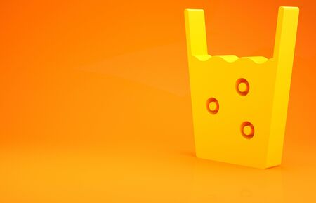 Yellow Glass with water icon isolated on orange background. Soda glass. Minimalism concept. 3d illustration 3D render