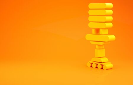 Yellow Office chair icon isolated on orange background. Minimalism concept. 3d illustration 3D render