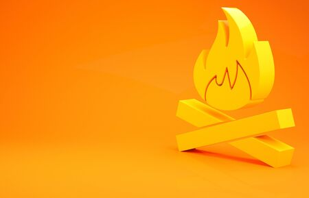 Yellow Campfire icon isolated on orange background. Burning bonfire with wood. Minimalism concept. 3d illustration 3D render