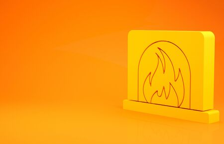 Yellow Interior fireplace icon isolated on orange background. Minimalism concept. 3d illustration 3D render