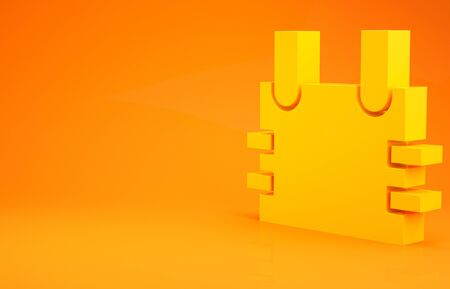 Yellow Bulletproof vest for protection from bullets icon isolated on orange background. Body armor sign. Military clothing. Minimalism concept. 3d illustration 3D render