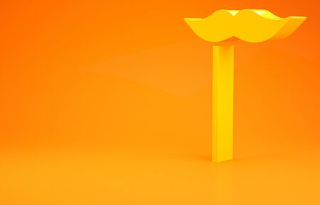 Yellow Paper mustache on stick icon isolated on orange background. Concept with cardboard carnival mask. Mask for a photo shoot. Minimalism concept. 3d illustration 3D render