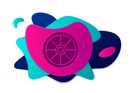 Color Old wooden wheel icon isolated on white background. Abstract banner with liquid shapes. Vector Illustration