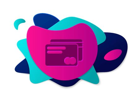 Color Credit card icon isolated on white background. Online payment. Cash withdrawal. Financial operations. Shopping sign. Abstract banner with liquid shapes. Vector Illustration Çizim