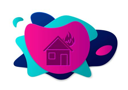 Color Fire in burning house icon isolated on white background. Abstract banner with liquid shapes. Vector Illustration