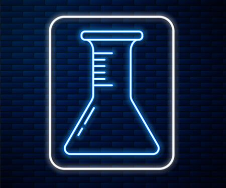 Glowing neon line Test tube and flask icon isolated on brick wall background. Chemical laboratory test. Laboratory glassware. Vector Illustration Illustration