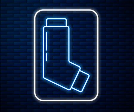 Glowing neon line Inhaler icon isolated on brick wall background. Breather for cough relief, inhalation, allergic patient. Medical allergy asthma inhaler spray. Vector Illustration