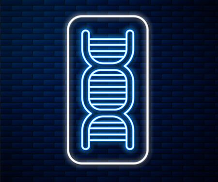 Glowing neon line DNA symbol icon isolated on brick wall background. Vector Illustration