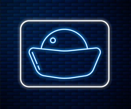 Glowing neon line Sushi icon isolated on brick wall background. Traditional Japanese food. Vector Illustration
