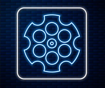 Glowing neon line Revolver cylinder icon isolated on brick wall background. Vector Illustration 向量圖像
