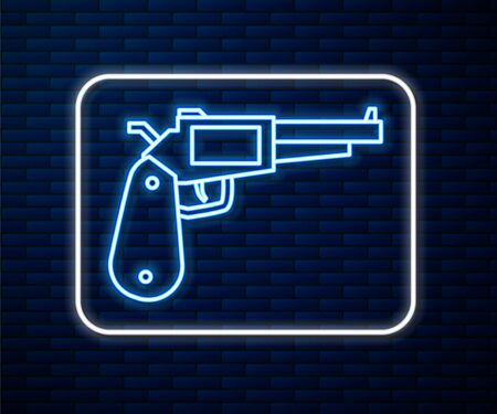 Glowing neon line Revolver gun icon isolated on brick wall background. Vector Illustration