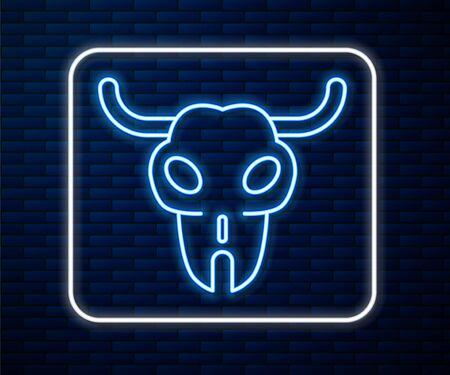 Glowing neon line Buffalo skull icon isolated on brick wall background. Vector Illustration