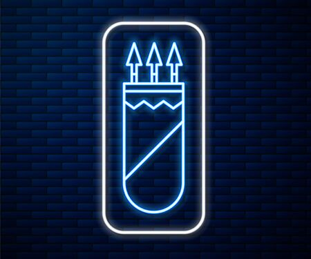 Glowing neon line Quiver with arrows icon isolated on brick wall background. Vector Illustration