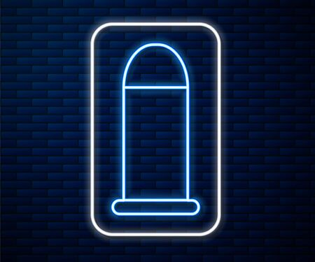 Glowing neon line Bullet icon isolated on brick wall background. Vector Illustration