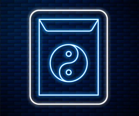 Glowing neon line Yin Yang and envelope icon isolated on brick wall background. Symbol of harmony and balance. Vector Illustration