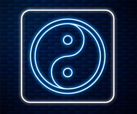 Glowing neon line Yin Yang symbol of harmony and balance icon isolated on brick wall background. Vector Illustration