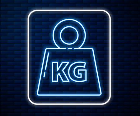 Glowing neon line Weight icon isolated on brick wall background. Kilogram weight block for weight lifting and scale. Mass symbol. Vector Illustration