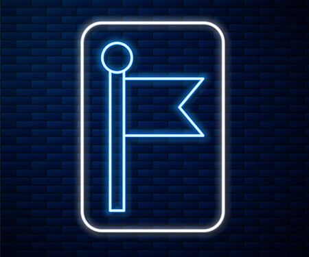 Glowing neon line Flag icon isolated on brick wall background. Location marker symbol. Vector Illustration