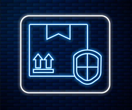 Glowing neon line Delivery pack security with shield icon isolated on brick wall background. Delivery insurance. Insured cardboard boxes beyond the shield. Vector Illustration Vectores