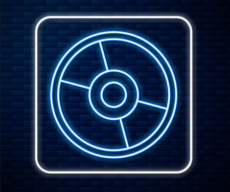 Glowing neon line CD or DVD disk icon isolated on brick wall background. Compact disc sign. Vector Illustration Иллюстрация