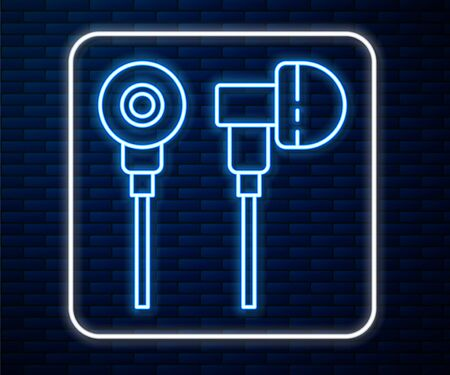 Glowing neon line Air headphones icon icon isolated on brick wall background. Holder wireless in case earphones garniture electronic gadget. Vector Illustration Çizim