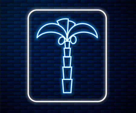 Glowing neon line Tropical palm tree icon isolated on brick wall background. Coconut palm tree. Vector Illustration 일러스트