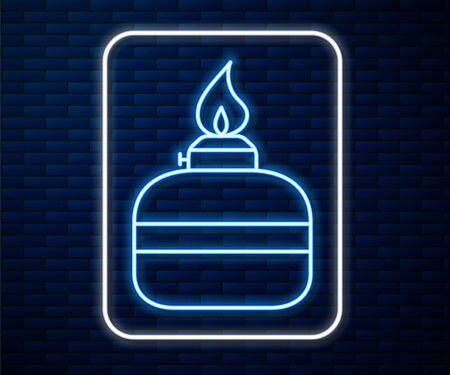 Glowing neon line Alcohol or spirit burner icon isolated on brick wall background. Chemical equipment. Vector Illustration