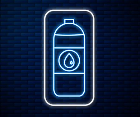 Glowing neon line Plastic canister for motor machine oil icon isolated on brick wall background. Oil gallon. Oil change service and repair. Vector Illustration