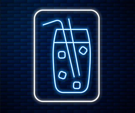 Glowing neon line Cocktail and alcohol drink icon isolated on brick wall background. Vector Illustration