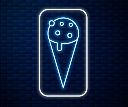 Glowing neon line Ice cream in waffle cone icon isolated on brick wall background. Sweet symbol. Vector Illustration