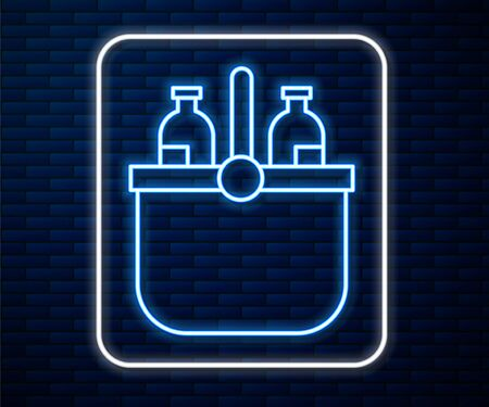 Glowing neon line Cooler bag and water icon isolated on brick wall background. Portable freezer bag. Handheld refrigerator. Vector Illustration 矢量图像