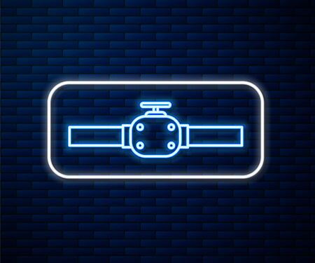 Glowing neon line Industry metallic pipes and valve icon isolated on brick wall background. Vector Illustration