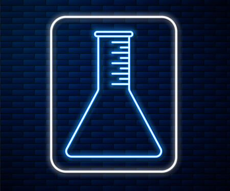 Glowing neon line Oil petrol test tube icon isolated on brick wall background. Vector Illustration