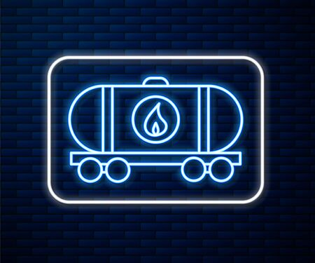 Glowing neon line Oil railway cistern icon isolated on brick wall background. Train oil tank on railway car. Rail freight. Oil industry. Vector Illustration