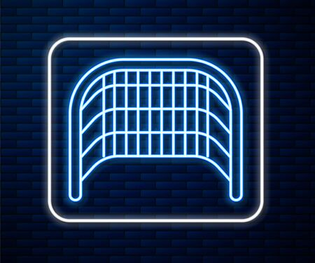 Glowing neon line Ice hockey goal with net for goalkeeper icon isolated on brick wall background. Vector Illustration