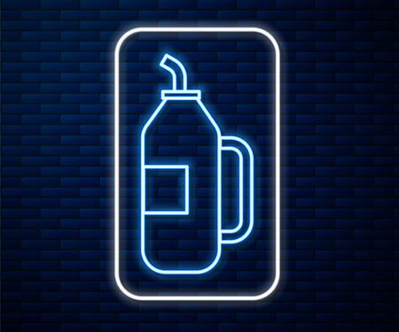 Glowing neon line Fitness shaker icon isolated on brick wall background. Sports shaker bottle with lid for water and protein cocktails. Vector Illustration