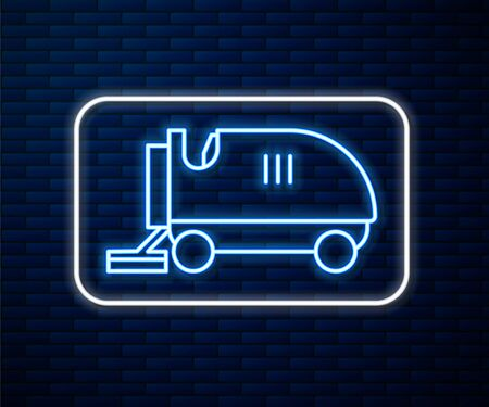 Glowing neon line Ice resurfacer icon isolated on brick wall background. Ice resurfacing machine on rink. Cleaner for ice rink and stadium. Vector Illustration Stock Illustratie