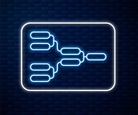 Glowing neon line Results and standing tables scoreboard championship tournament bracket icon isolated on brick wall background. Vector Illustration Vektorgrafik