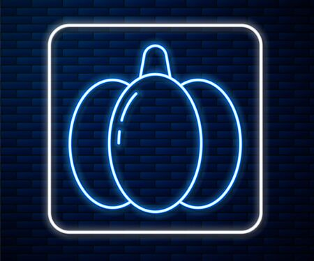 Glowing neon line Pumpkin icon isolated on brick wall background. Happy Halloween party. Vector Illustration
