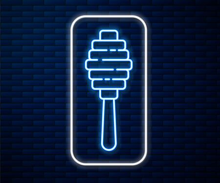 Glowing neon line Honey dipper stick icon isolated on brick wall background. Honey ladle. Vector Illustration